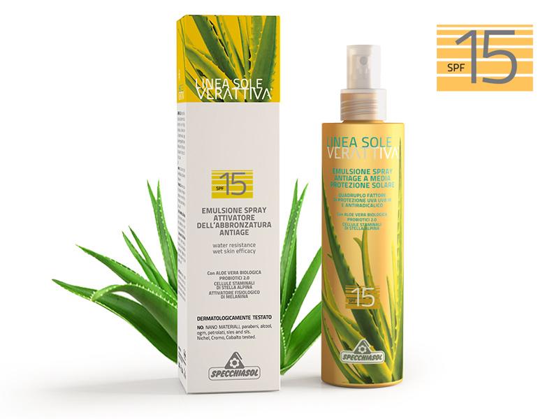Specchiasol® Verattiva® 15 faktoros Napozó spray - Hármas hatású: UVA, UVB és Szabad gyökök elleni védelemmel.
