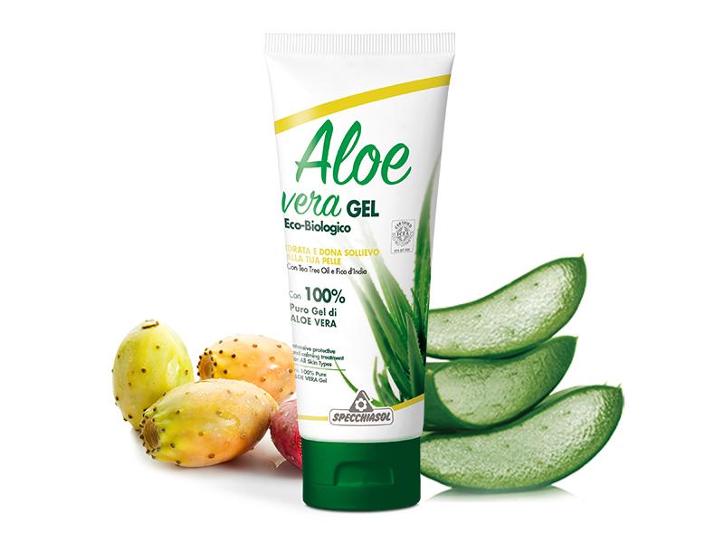 Specchiasol® Aloe vera gél teafa illóolaj - és fügekaktusz kivonat erejével. ECOBIO minősítésű 100%-os, külsőleg