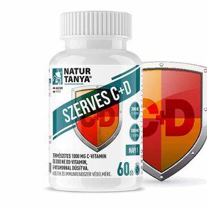 Natur Tanya® SZERVES C+D - 1000 mg C-vitamin és 2000 NE D3-vitamin, E-vitaminnal dúsítva
