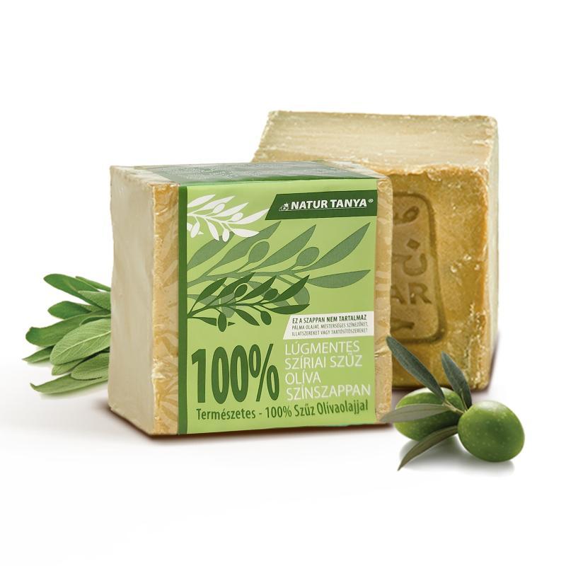 Natur Tanya® Lúgmentes, 100%-os aleppói szűz olíva színszappan – Arcra, testre, érzékeny, ekcémás, pikkelysömörös bőrre.