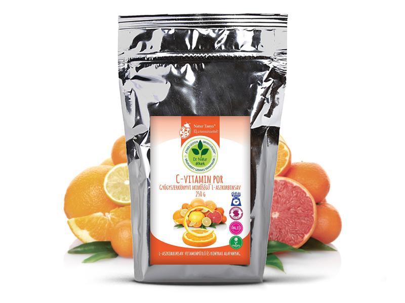 Dr. Natur étkek, C-vitamin por. Gyógyszerkönyvi minőségű L-aszkorbinsav. Külsőleg, Belsőleg.