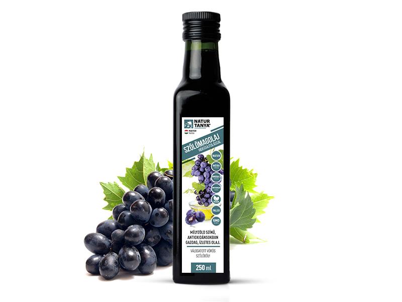 Dr. Natur étkek, Hidegen sajtolt szőlőmag olaj. Szekszárdi, egri vörös szőlőkből. Külsőleg, belsőleg. 250ml