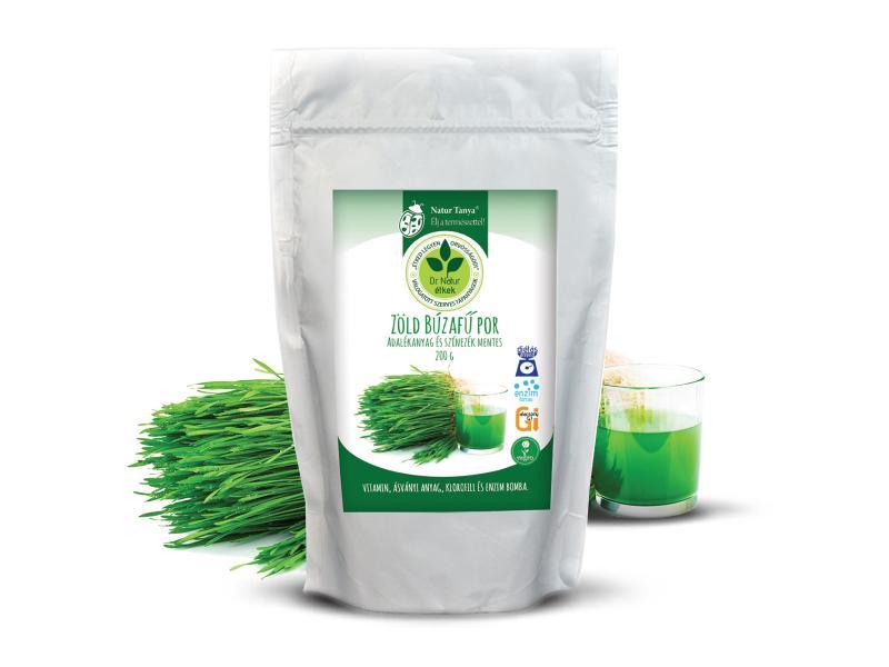 Dr. Natur étkek, Zöld Búzafű por. Adalékanyag és színezék mentes. 200g búzafűpor=8 liter búzafű ital.