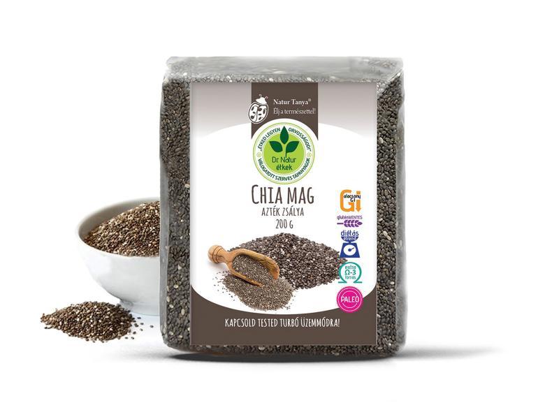 Dr. Natur étkek, Chia mag (Fekete Salvia hispanica, Azték zsálya). Tápanyagbomba! Ételsűrítésére is! 200g