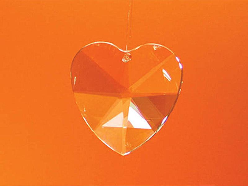 Feng Shui szivárványkristály nagy szív - 40 mm