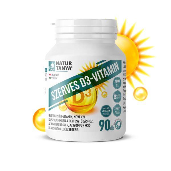 Natur Tanya® Szerves D3-vitamin 4000NE növényi kapszulatokban, E-vitaminnal